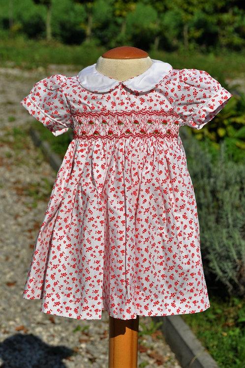 Rot- weißes Kleid mit rotem Blumenmuster- kurzarm