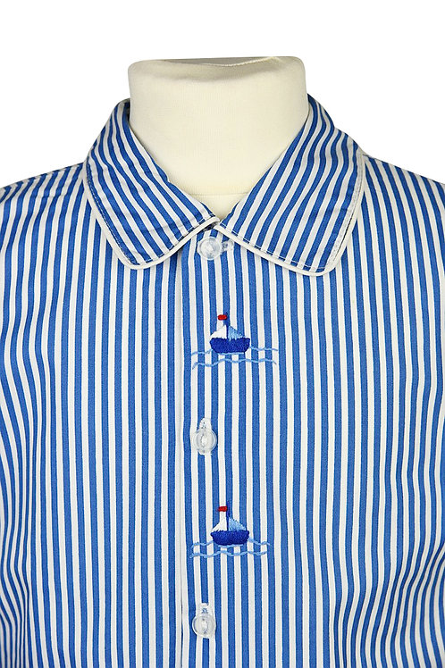 Blau linierter, langarm Pyjama mit Segelbootstickerein
