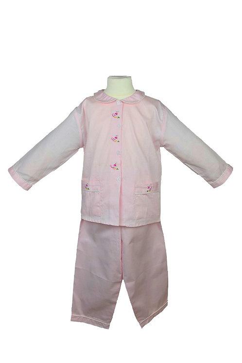 Rosa Pyjama mit Entenmuster- langarm