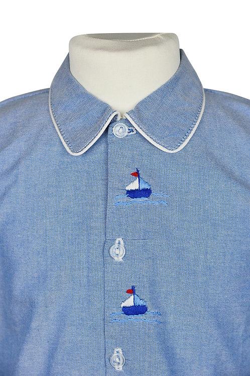 Blauer, langarm Pyjama mit Segelbootstickerein