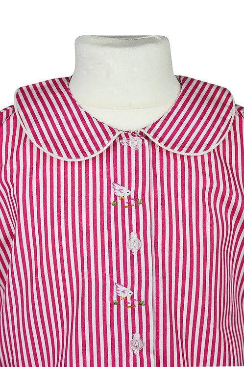 Rosa linierter, langarm Pyjama mit Vögelstickerein