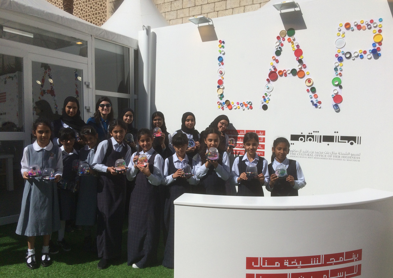 Creating New Worlds project at Art Dubai as part of the Sheikha Manal Little Artists Program