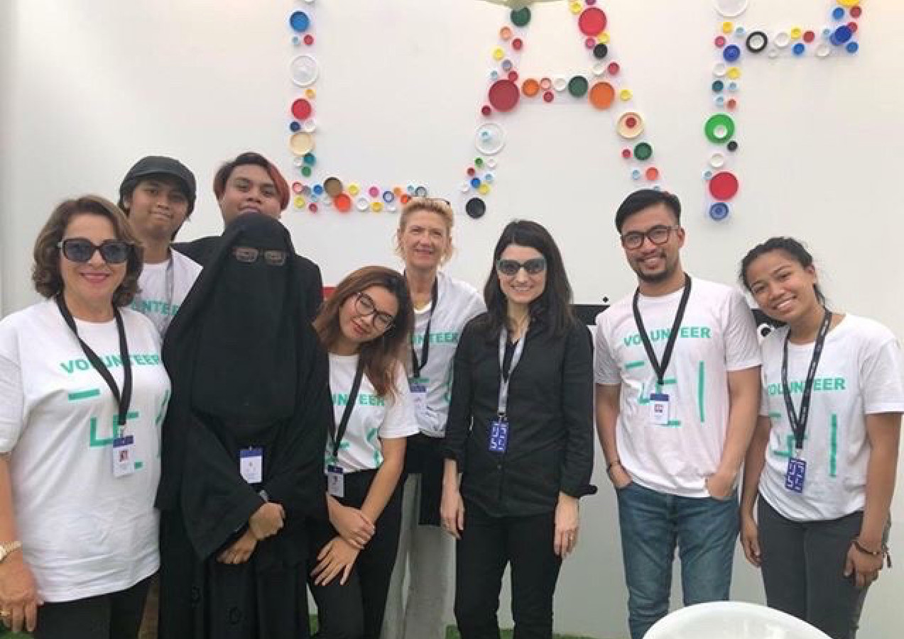 Sally Curcio with Artist Volunteers at Art Dubai