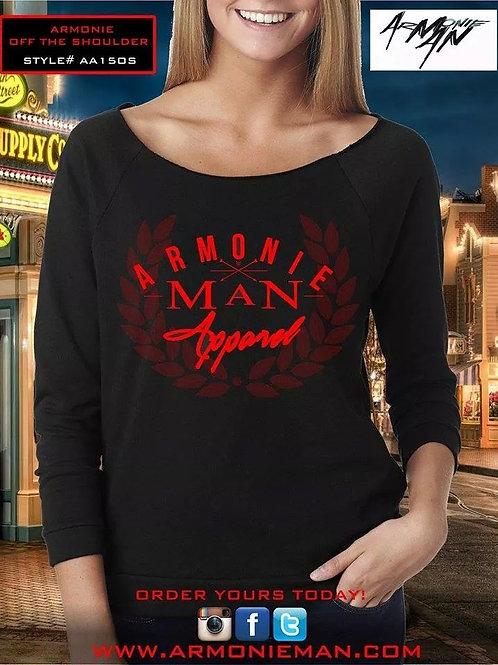 Black/Red AMA Logo Off The Shoulder Long Sleeve