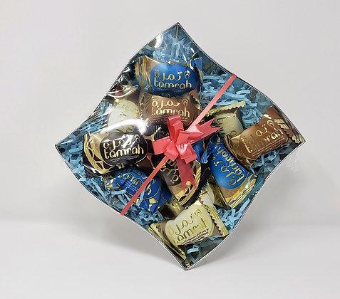 Tamrah Assorted Chocolate Covered Dates Premium Gift Bowl (11oz) for Birthdays,