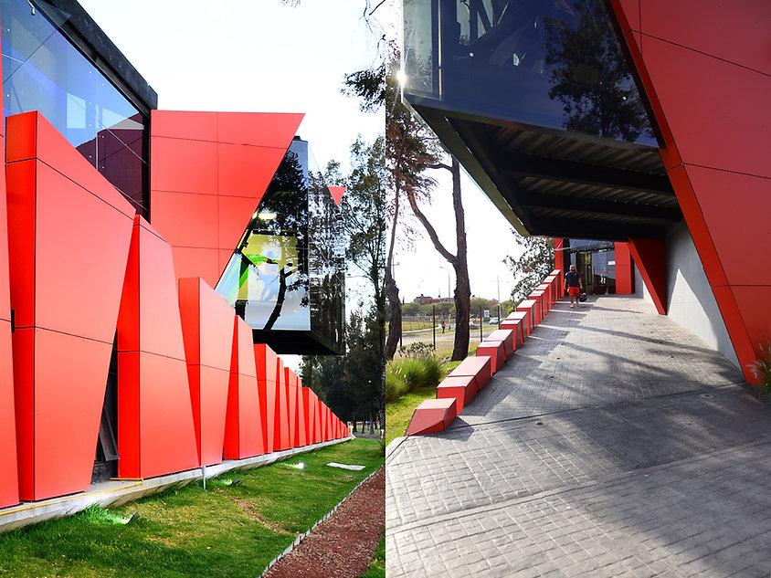 Detalles de fachada de gimnasio Ibero