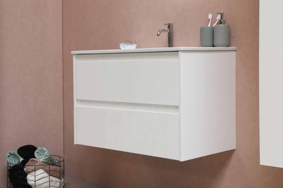 Elegant porcelænsvask 100 cm med møbel i mat hvid