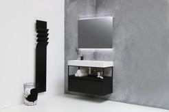 Unlimited glans wit - ferro frame - 1 lade onderkast mat zwart