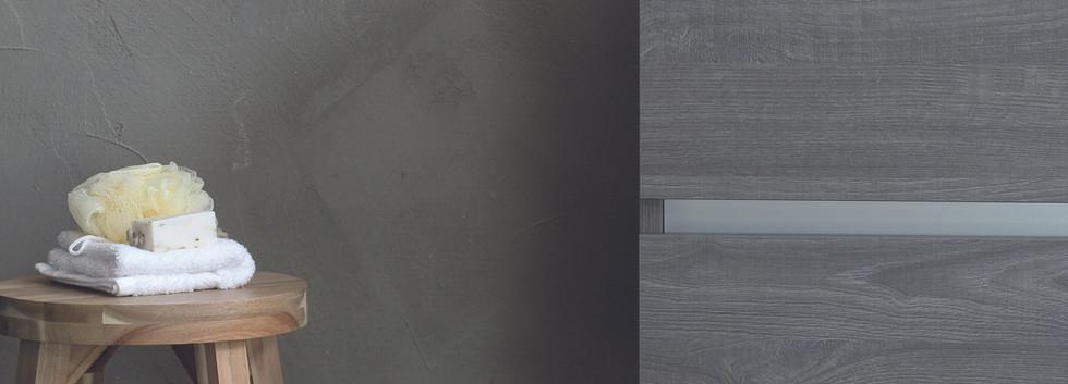 spazio - wastafel met skirts + onderkast oer grijs
