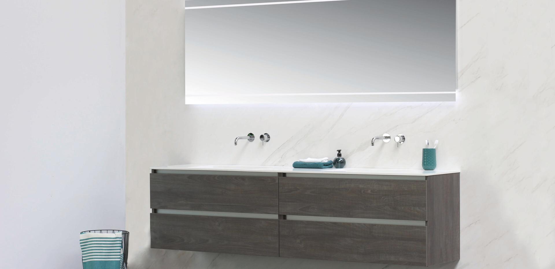 Spazio - håndvask 12 mm + møbel i grå
