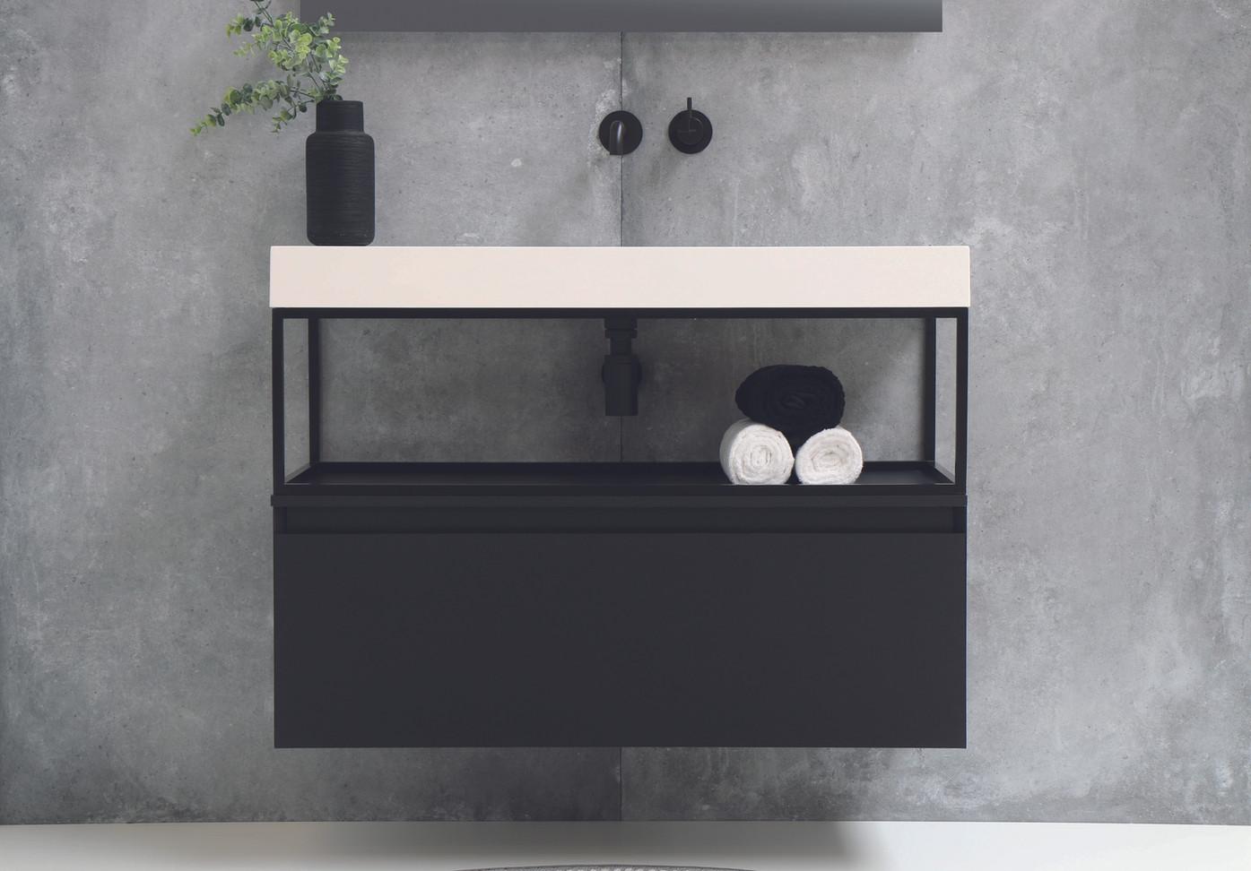 Tablet glans wit - ferro frame - onderkast 1 lade mat zwart