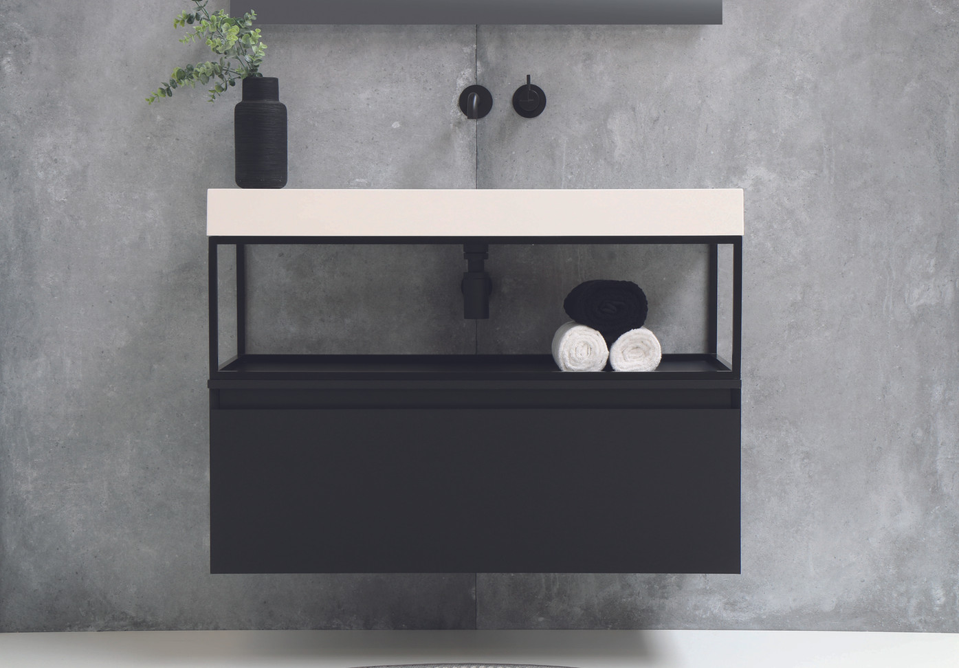 Tablet højglans hvid - Ferro ramme - møbel 1 skuffe mat sort