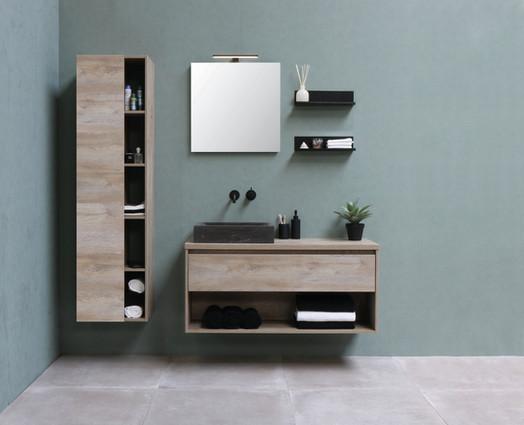 Rektangulær stenvask - møbel i rå eg