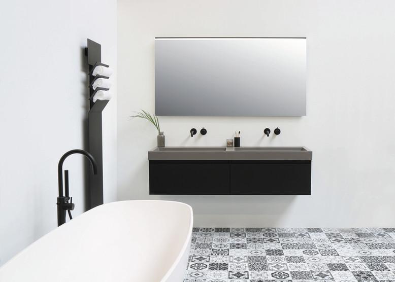 Momento quartz beton - onderkast 1 lade mat zwart