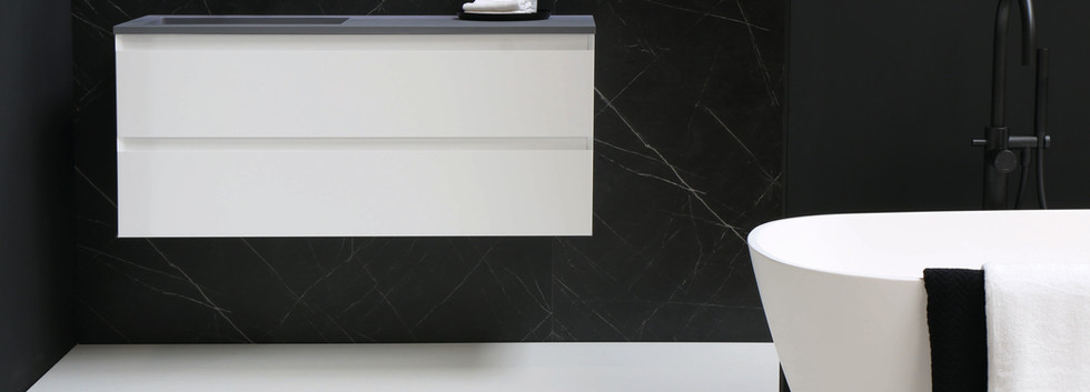 Cargo grå kvarts med mat hvid møbel
