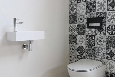 contra mat wit vierkant fonteinpack chroom