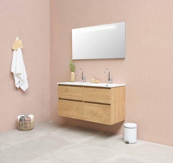 Elegant dobbelt porcelænsvask 120 cm med møbel i ideal eg