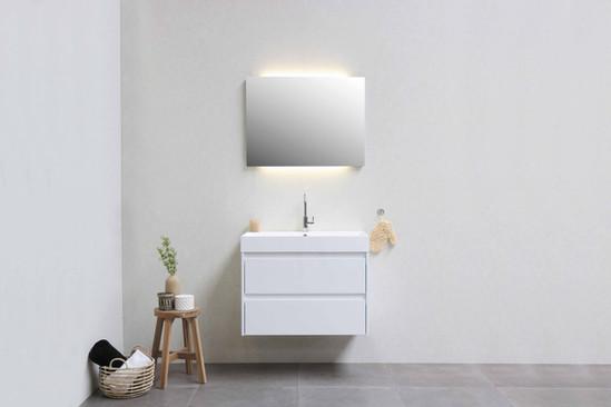 Loft polystonevask 80 cm - møbel i højglans hvid
