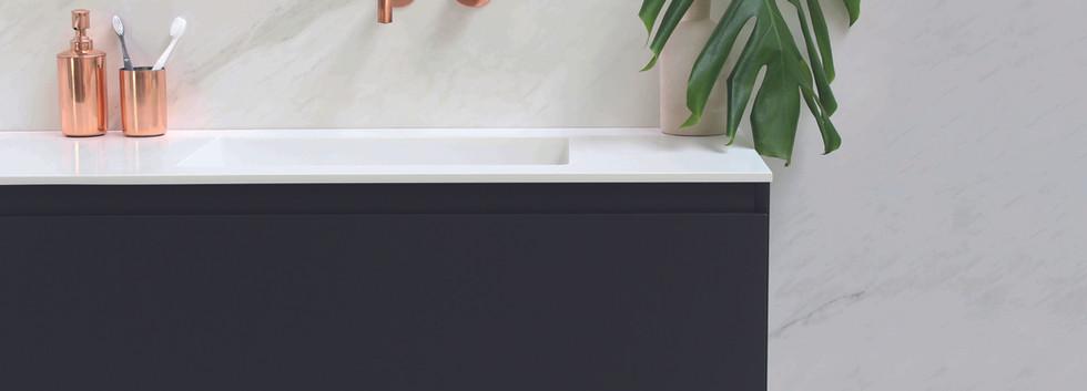 spazio - wastafel 12 mm + onderkast gela