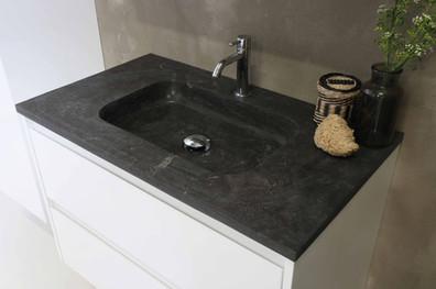 Elegant stenvask - møbel i højglans hvid