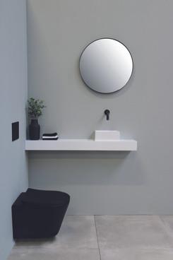 Ronde spiegel verzonken in kader