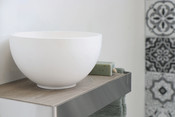 Jazz XS mat hvid- ramme børstet rustfrit stål - indlæg i greige eg