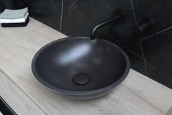 Topdeck quartz zwart - onderkast 1 lade greige eiken - ferro frame met stalen inleg