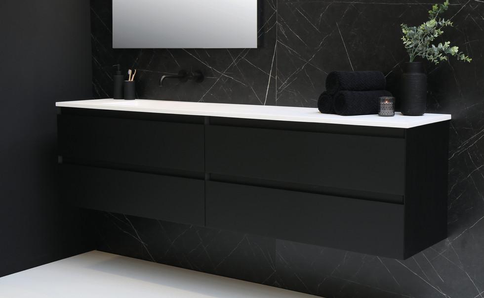 cargo mat wit - onderkast mat zwart
