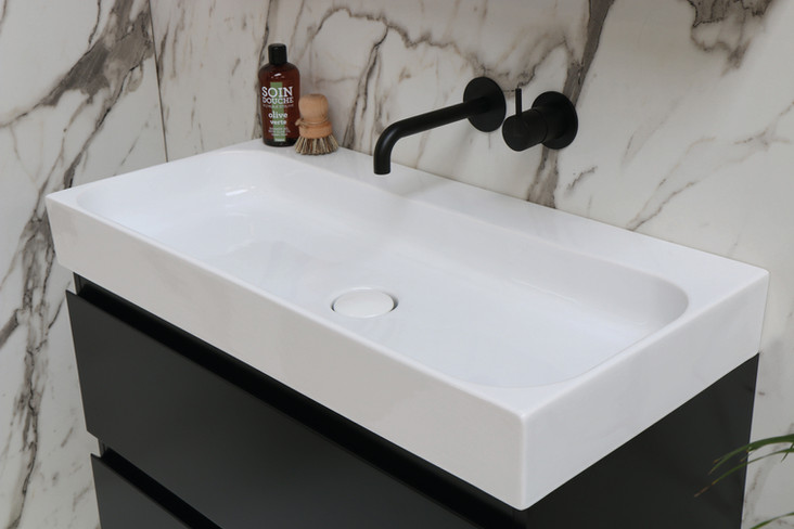 Unit 80 cm blank hvid - mat sort