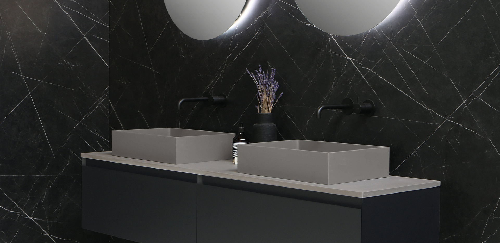 Bliss dogma quartz beton - onderkast mat zwart