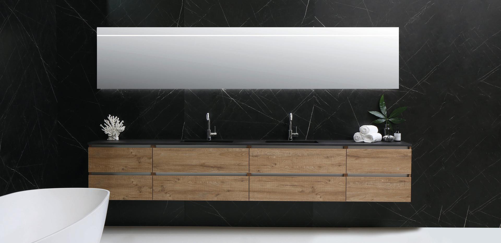 Cargo dobbelt sort kvarts - møbel i naturlig eg