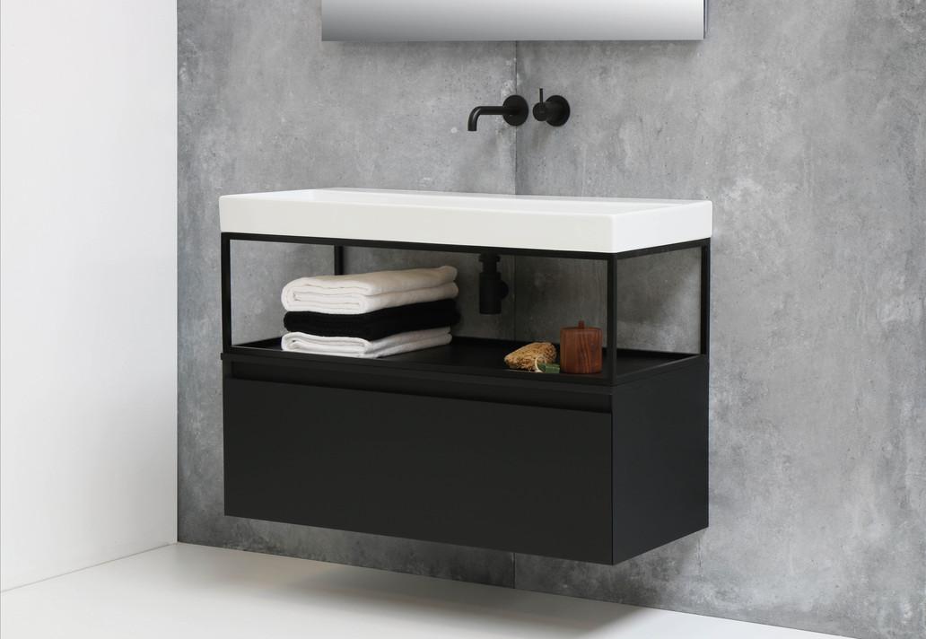 Urban glans wit - ferro frame - onderkast 1 lade mat zwart