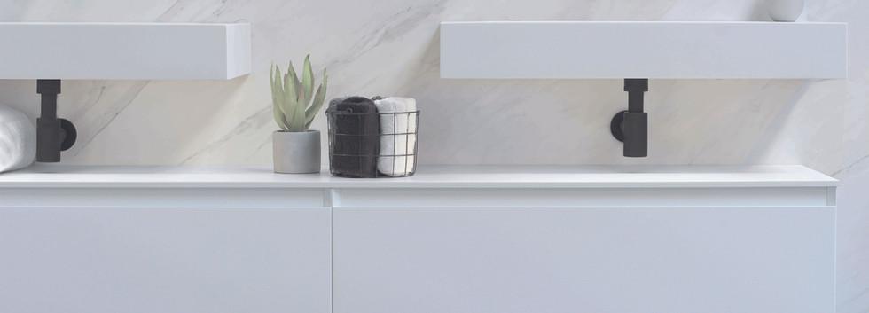 Spazio - 2x håndvask med høj kant + 2 møbler mat hvid