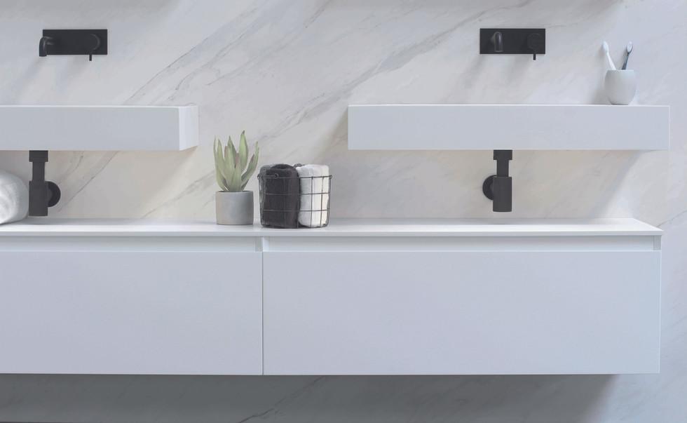 spazio - 2x wastafel met skirts vrijhangend en 2 mat witte onderkasten