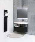 Momento mat hvid - Ferro ramme - møbel 1 skuffe mat sort - spejl med røget glas