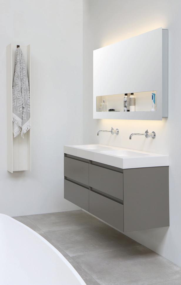 Tablet vask højglans hvid  - møbel mat taupe