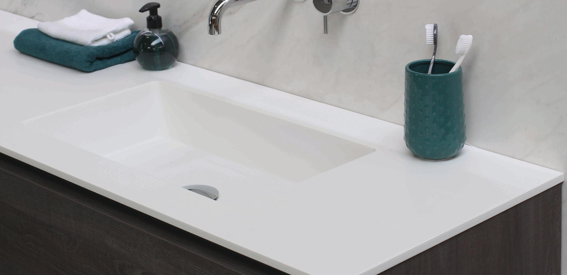 Spazio - håndvask 12 mm + møbel i original grå