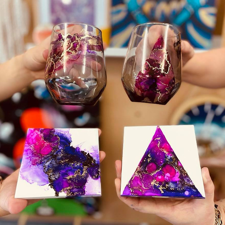 SPRINGFIELD - Orion -  Learn to make alcohol ink stemless wine glasses and coasters