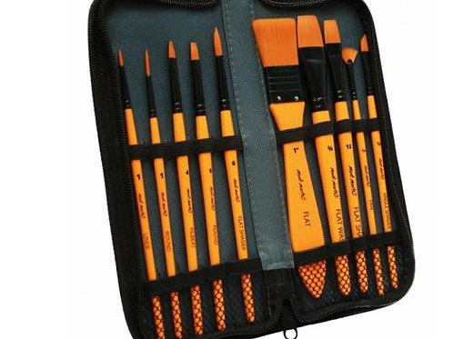 Taklon Brush Set in Wallet 11pce - Acrylic (box of 6)