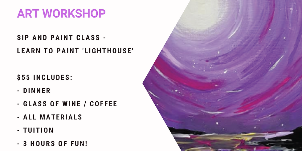 Grab a glass of wine and learn to paint 'Lighthouse'