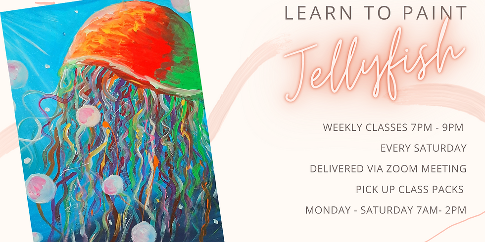 """ONLINE - Sip 'n' Paint """"Learn to paint Jellyfish"""""""
