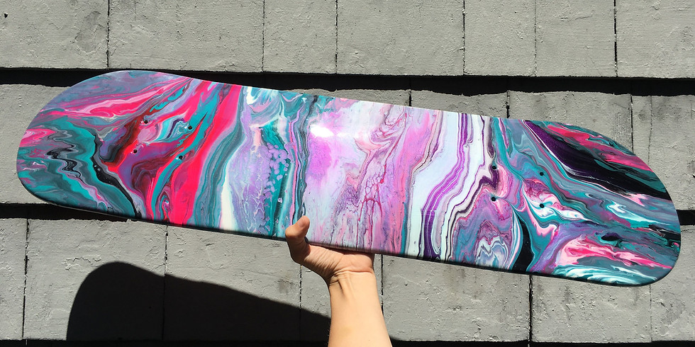PROCEEDING - HYPERDOME - Learn to paint class - Kids/Teens Sip and Paint Skate Deck