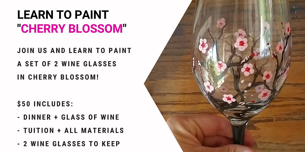 Grab a glass of wine and learn to paint Cherry Blossom wine glasses!