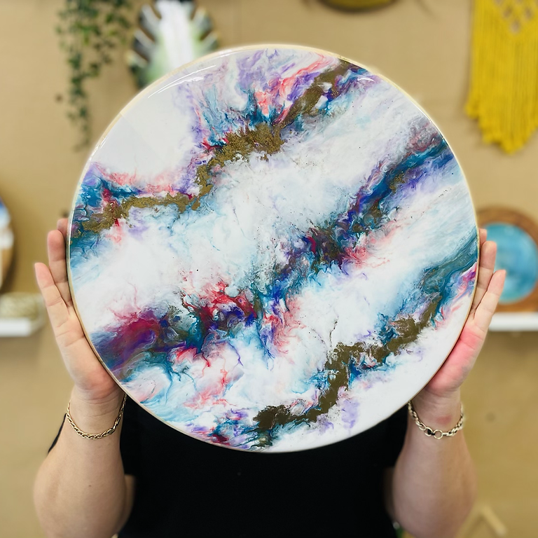 GOODNA - STUDIO - Make your own resin covered lazy susan (your choice of colours)