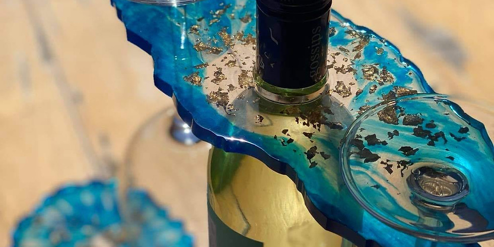 GOODNA - Learn to make resin cast geode style wine bottle glass holder & 2 coasters