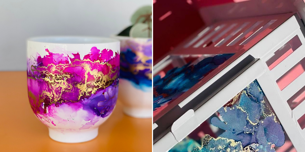 STUDIO - GOODNA - Learn to decorate a alcohol ink lantern (black coloured frame) OR 2 alcohol ink planters