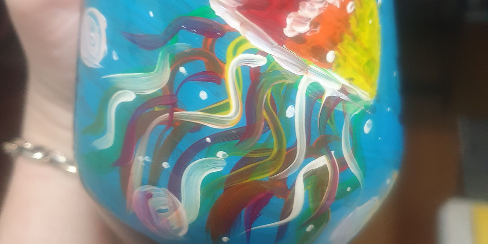 GOODNA - STUDIO - Learn to paint two 'jellyfish' wine glasses