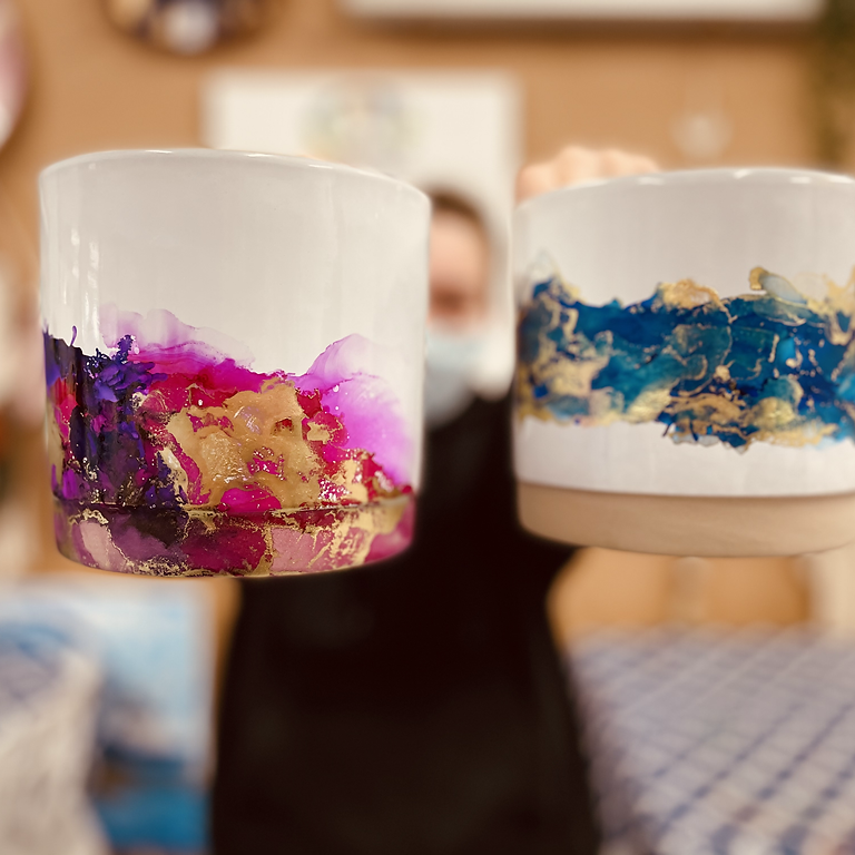 SPRINGFIELD - ORION - Learn to make an alcohol ink decorated planters x 2