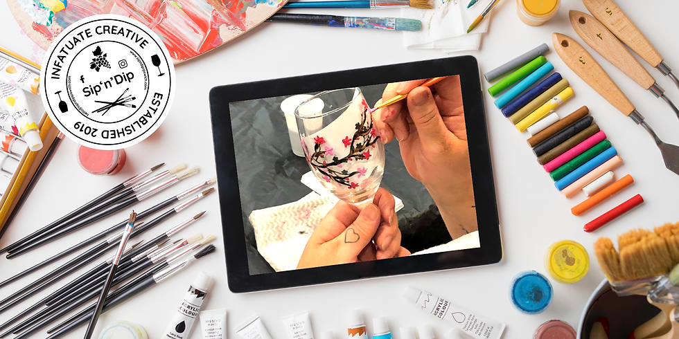 STUDIO - Grab a glass of wine and learn to paint Cherry Blossom wine glasses