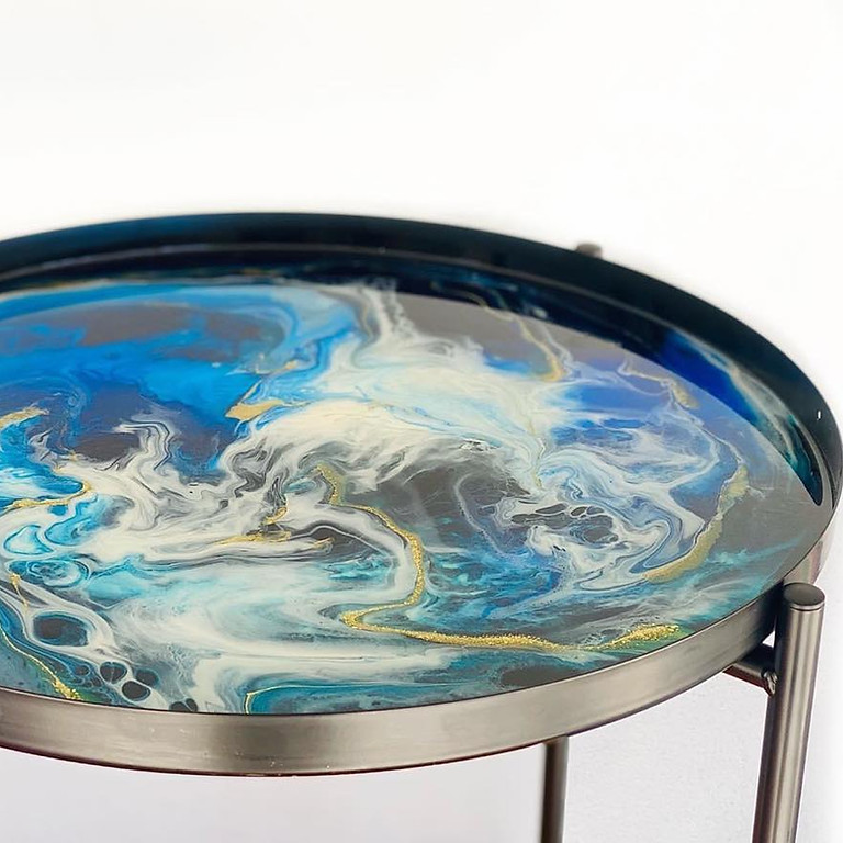 IPSWICH - JETS - Make your own resin covered side table!